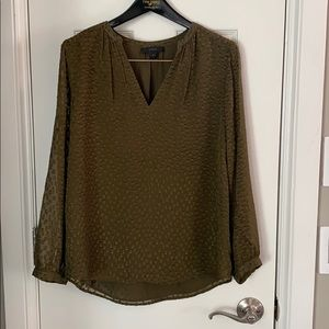 Jcrew Olive Green Silk Blouse W Velvet Detail